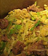 Kavourmas with Cabbage and Onions