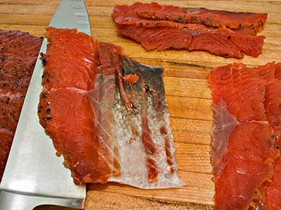 Slicing Homemade Gravlax