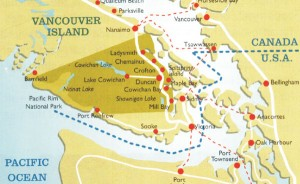 Map of Cowichan Valley, Vancouver Island
