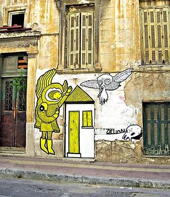 Athens Graffiti Art Owl Cat XX