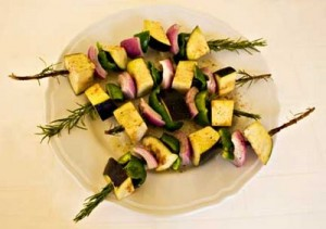 Eggplant Kebab on Rosemary Skewers