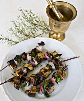 Grilled Eggplant Kebab on Rosemary Skewers