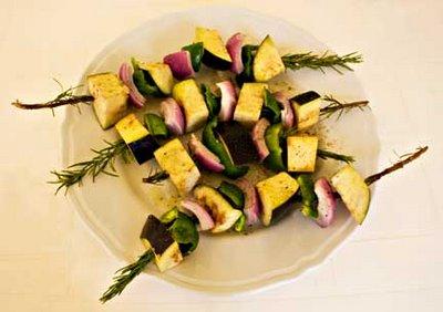 Eggplant Kebab on Rosemary Skewers