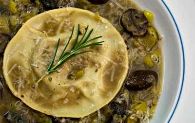 Oxtail Ravioli in Leek Mushroom Broth