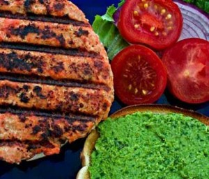 Asian Salmon Burgers with Cilantro Edamame Spread