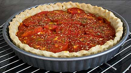Tomato Tart in Oven