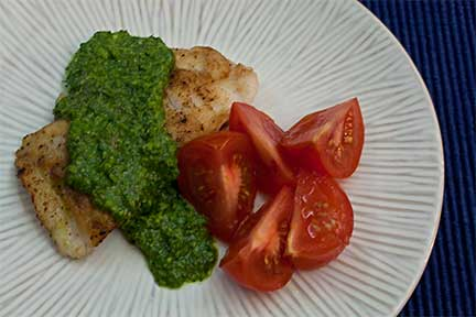 Rockfish with Cilantro, Parsley & Basil Sauce