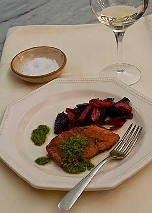 Salmon with CIlantro Pesto Sauce