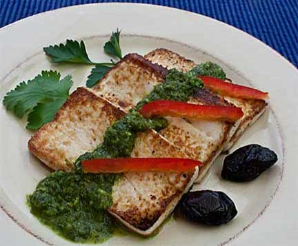 Pan-Fried Tofu with Cilantro, Parsley & Basil Sauce