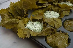 Making Individual Yogurt Pies in Grape Leaves