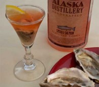 Oyster Shooter with Smoked Salmon Vodka