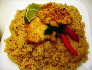 Blog of the week recipes from the modern libyan kitchen laurie libyan herbed rice with coriander seeds and fish fillets forumfinder Gallery
