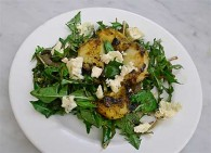 Dandelion, Grilled Peach & Blue Cheese Salad