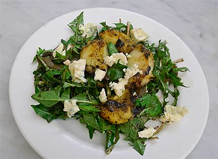 Dandelion, Peach & Blue Cheese Salad