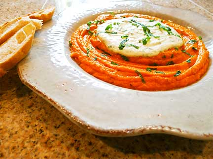 Spicy Carrot Spread with Garlic Yogurt