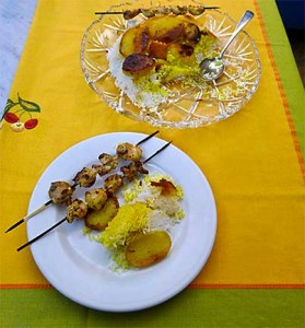 Chicken Kebab and Persian Rice