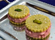 Pomegranate Ice Cream in Pistachio-Cardamom Cookie Sandwiches