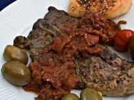 Grilled Pork Steak with Za'atar Tomato Sauce