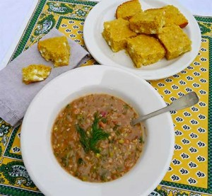 Greek Beans and Grains Soup (Polysporia) with Rustic Greek Cornbread
