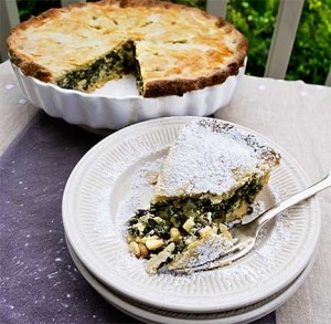 Swiss Chard Tourte with Powdered Sugar