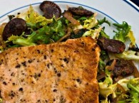 Pan-Fried Salmon with Curly Endive and Christmas Lima Beans