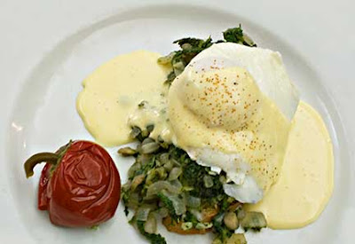 Eggs Rockefeller with Dandelion Greens and Hollandaise