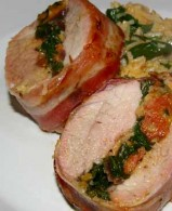 Pork Tenderloin Stuffed with Chorizo & Spinach and Spinach-Chorizo Pilaf