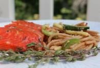Cedar Plank Grilled Salmon with Dave's Spicy Brown Sugar Rub