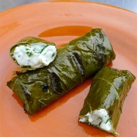 Grilled Grape Leaves Stuffed with Herbed Goat Cheese