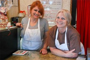Jackie Johnson and Kathy Hamrick at Boardwalk Bakery in Homer, Alaska