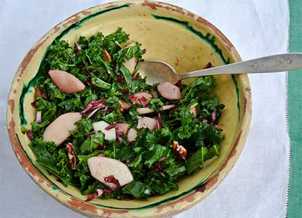 Kale, Pear and Radicchio Salad with Raspberry Vinaigrette