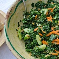 Kale & Cucumber Salad with Avocado-Tahini Dressing
