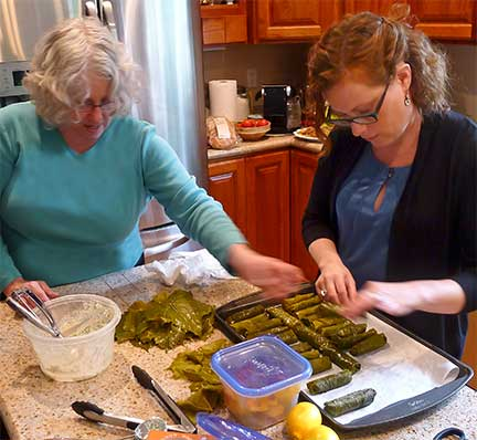 Prepping Rolled Grape Leaves for Grilling