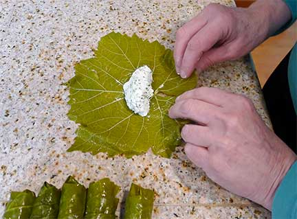 Rolling Grape Leaves Step 1