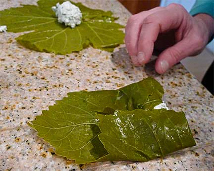 Rolling Grape Leaves Step 3