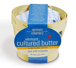 Vermont Creamery's Basket of Cultured Butter with Sea Salt Crystals