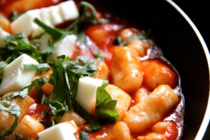 Ricotta Gnocchi With Basil and Mozzarella