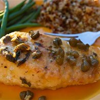 Halibut with Lemon Caper Pan Sauce