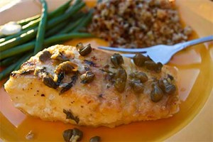 Halibut with Lemon Caper Pan Sauce, Photograph by Jennifer McGovern
