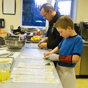 Lyle and Fireman Making Spanakopita