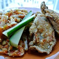 Crispy Fried Oysters with Napa Cabbage and Cucumber Kimchi
