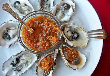Oysters on the Half Shell with Kimchi, photo by Kim Sunee