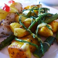 Pan-Fried Halibut with Sea Beans, Asparagus & Saffron Potatoes
