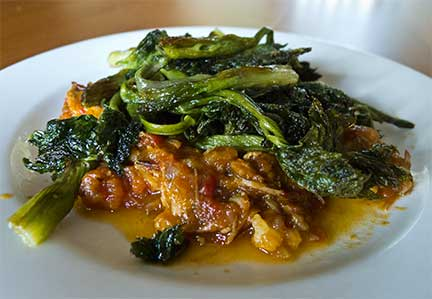 Roasted Cow Parsnip Stalks on Pork-Tomato Stew. Photograph by Laurie Constantino