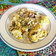 Scrambled Eggs with Rhubarb and Herbs. Photograph by Laurie Constantino