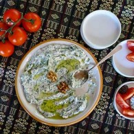 Turkish Yogurt and Dandelion Green Salad (Yoğurtlu Cevizli ve Radika)