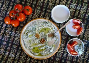 Turkish Yogurt and Dandelion Green Salad (Yoğurtlu Cevizli ve Karahindiba). Photograph by Laurie Constantino