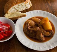 Wine-Marinated Rabbit with Whole Onions & Potatoes (Κουνέλι Μαριναρισμένο σε Κρασί με Κρεμμύδια)